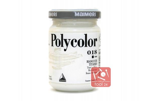 Акриловая краска Polycolor Maimeri 140мл. белила титановые 018 для создания цветных портретов и пейзажей на камне габбро, граните, мраморе, пластике, стекле, металле, бумаге и древесине