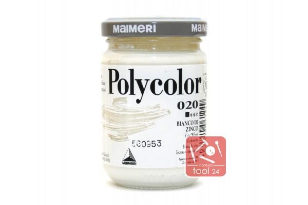 Акриловая краска Polycolor Maimeri 140мл. белила цинковые 020 для создания цветных портретов и пейзажей на камне габбро, граните, мраморе, пластике, стекле, металле, бумаге и древесине