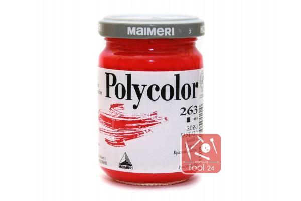 Акриловая краска Polycolor Maimeri 140мл. цвет красный сандаловый 263 для создания цветных портретов и пейзажей на камне габбро, граните, мраморе, пластике, стекле, металле, бумаге и древесине