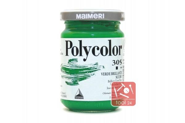 Акриловая краска Polycolor Maimeri 140мл. цвет зеленый яркий темный 305 для создания цветных портретов и пейзажей на камне габбро, граните, мраморе, пластике, стекле, металле, бумаге и древесине