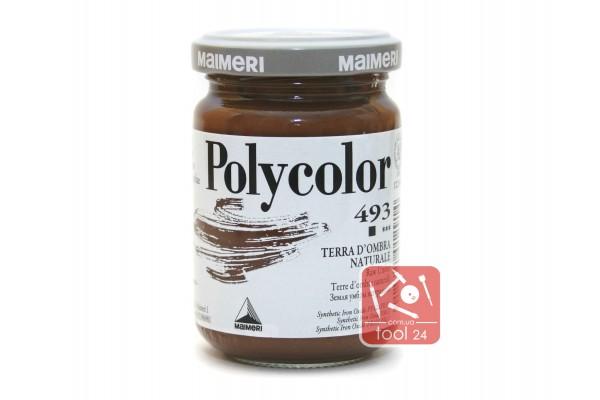 Акриловая краска Polycolor Maimeri 140мл. коричневая 493 для создания цветных портретов и пейзажей на камне габбро, граните, мраморе, пластике, стекле, металле, бумаге и древесине